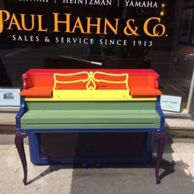 Piano Finished in Farrow & Ball colours for World Pride in 2014.