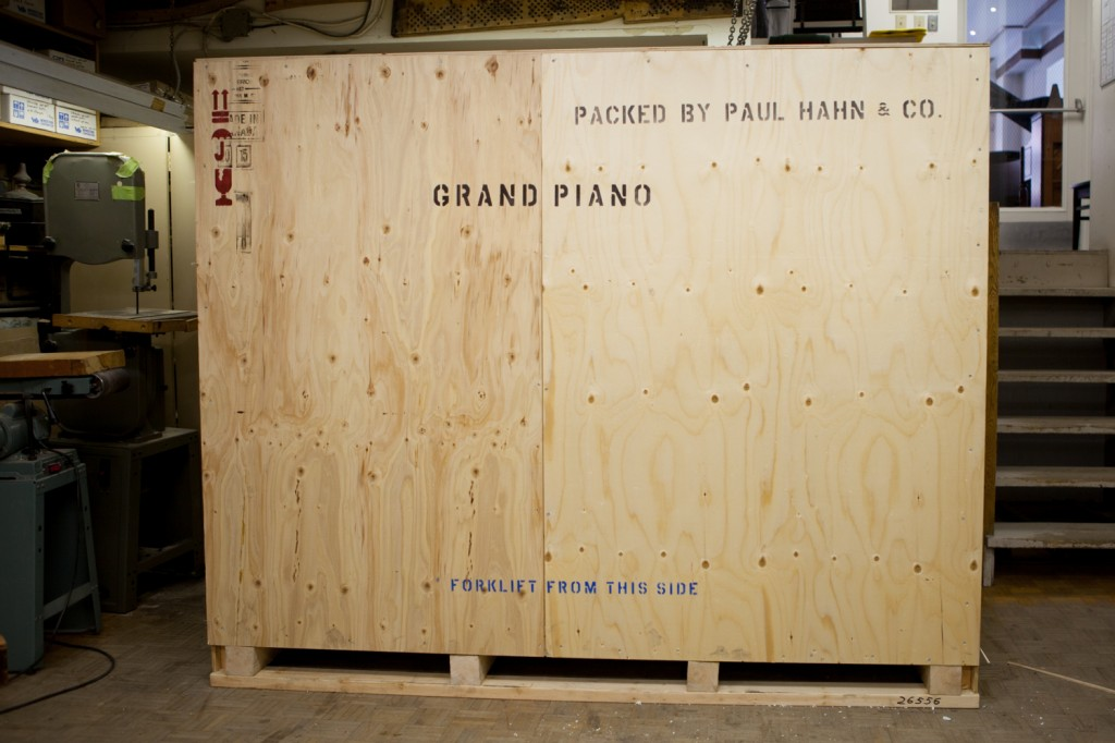 shipping crate for a grand piano